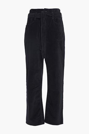 3x1 Cropped cotton-blend velvet straight-leg pants
