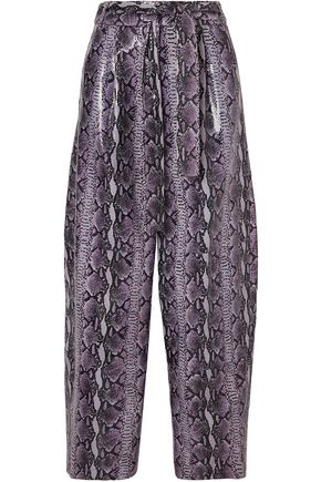 SALLY LAPOINTE Glossed snake-effect leather wide-leg pants