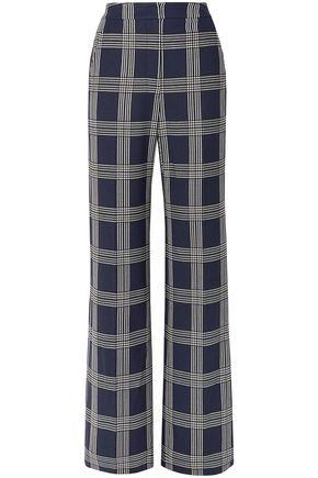 LELA ROSE Checked twill wide-leg pants
