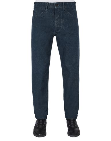 STONE ISLAND J02J1 PANAMA PLACCATO RE-T PANTS - 5 POCKETS Man Marine Blue USD 151