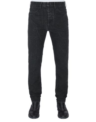 STONE ISLAND J01J1 PANAMA PLACCATO SL TROUSERS - 5 POCKETS Man Black EUR 219