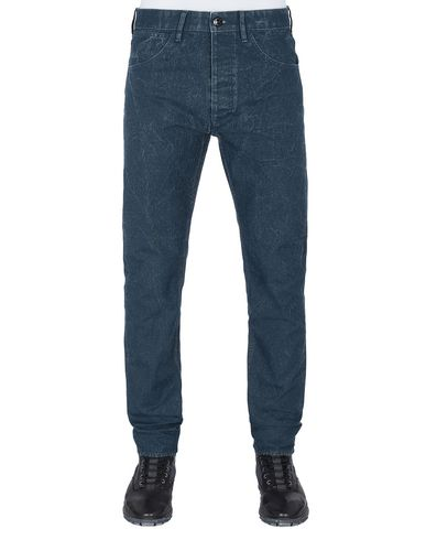 STONE ISLAND J01J1 PANAMA PLACCATO SL PANTS - 5 POCKETS Man Marine Blue USD 197
