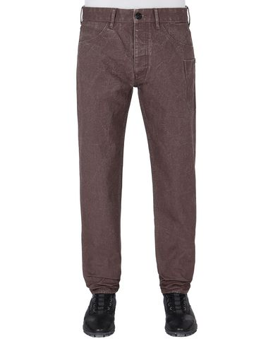 STONE ISLAND J04J1 PANAMA PLACCATO RE-T PANTS - 5 POCKETS Man MAHOGANY BROWN EUR 270