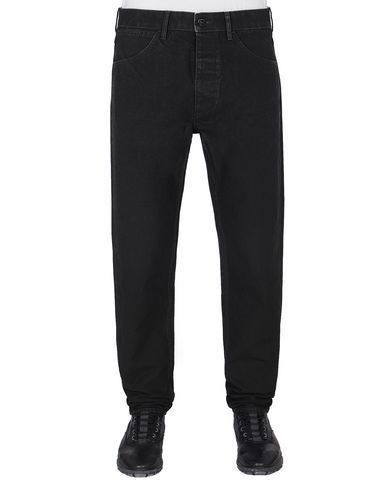 STONE ISLAND J02J1 PANAMA PLACCATO RE-T TROUSERS - 5 POCKETS Man Black EUR 205