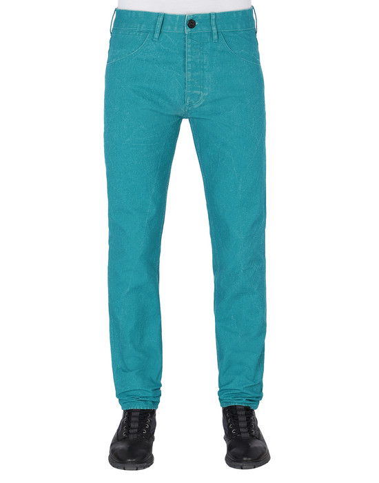 STONE ISLAND J01J1 PANAMA PLACCATO SL PANTS - 5 POCKETS Man Turquoise