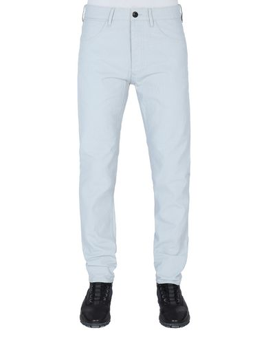 STONE ISLAND J01J1 PANAMA PLACCATO SL PANTS - 5 POCKETS Man Sky Blue USD 151