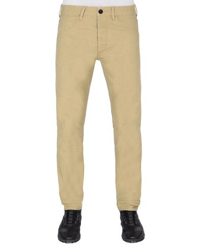 STONE ISLAND J01J1 PANAMA PLACCATO SL PANTS - 5 POCKETS Man Dark Beige USD 197