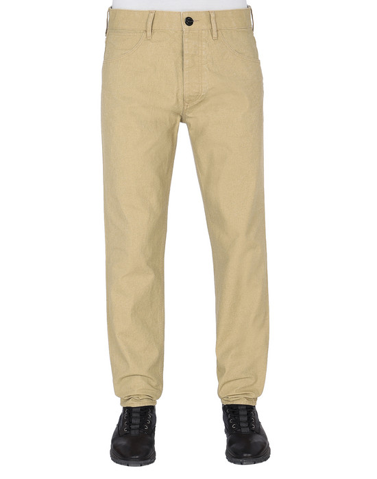STONE ISLAND J02J1 PANAMA PLACCATO RE-T PANTS - 5 POCKETS Man Dark Beige