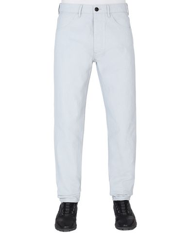 STONE ISLAND J02J1 PANAMA PLACCATO RE-T PANTS - 5 POCKETS Man Pale Blue USD 197