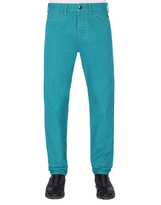 STONE ISLAND J02J1 PANAMA PLACCATO RE-T PANTS - 5 POCKETS Man Turquoise
