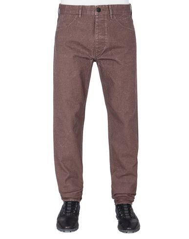 STONE ISLAND J02J1 PANAMA PLACCATO RE-T TROUSERS - 5 POCKETS Man MAHOGANY BROWN EUR 219
