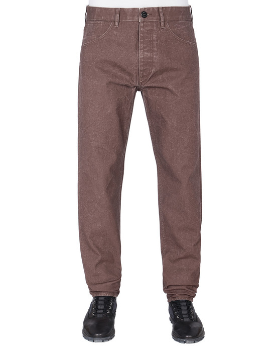 STONE ISLAND J02J1 PANAMA PLACCATO RE-T PANTS - 5 POCKETS Man MAHOGANY BROWN