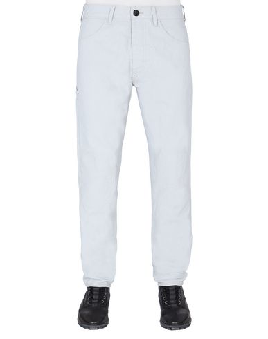 STONE ISLAND J03J1 PANAMA PLACCATO RE-T PANTS - 5 POCKETS Man Pale Blue USD 232