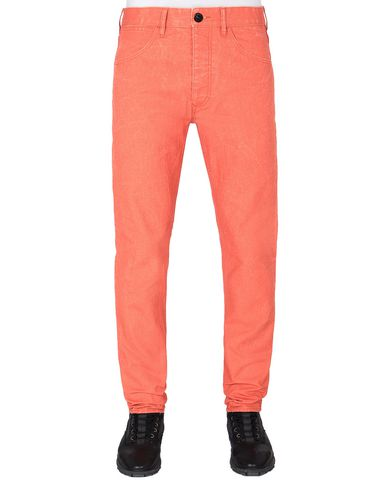 STONE ISLAND J01J1 PANAMA PLACCATO SL TROUSERS - 5 POCKETS Man Lobster Red EUR 205