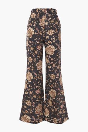 ZIMMERMANN Veneto printed linen flared pants