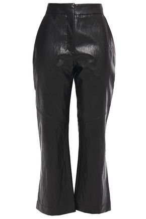 CEDRIC CHARLIER Faux cracked-leather kick-flare pants