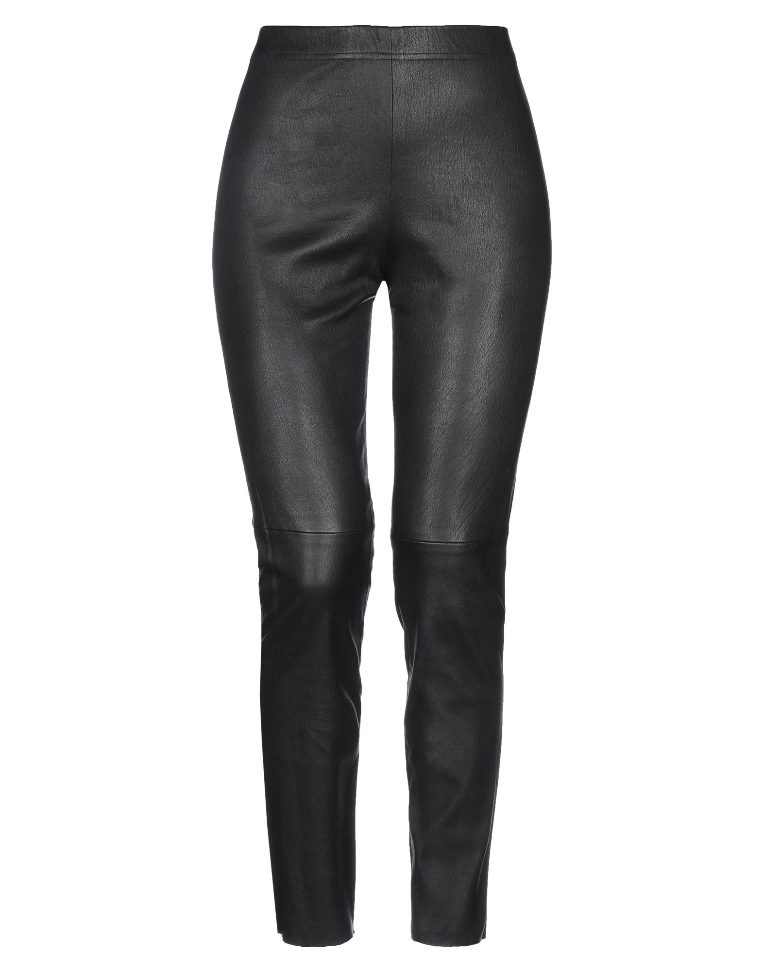 PLEIN SUD Leggings. leather, no appliqués, basic solid color, mid rise, regular fit, tapered leg, elasticized waist, no pockets, contains non-textile parts of animal origin. 100% Soft Leather