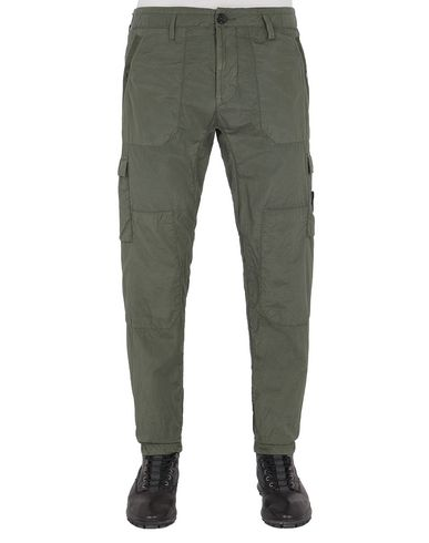 STONE ISLAND 32029 S.I.PA/PL SEERSUCKER-TC  Pants Man Olive Green USD 307