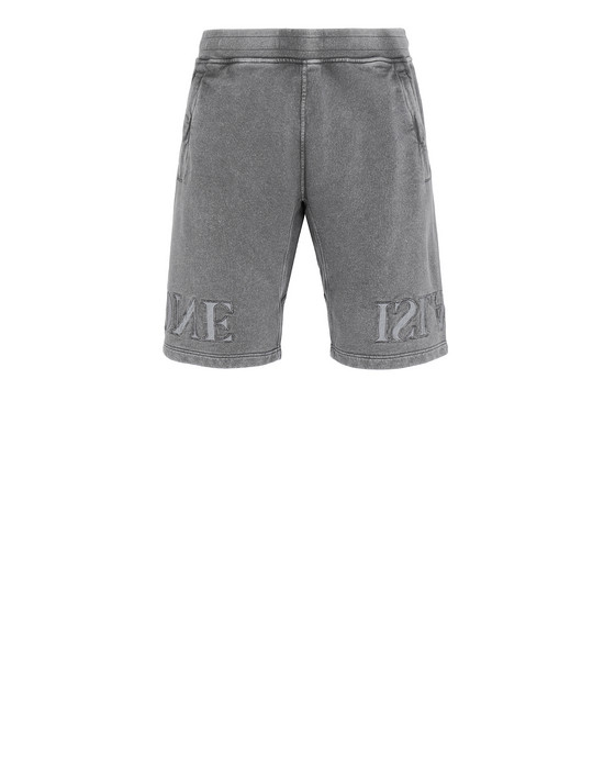 STONE ISLAND 66354 FLECK TREATMENT FLEECE BERMUDA SHORTS Man Blue Grey
