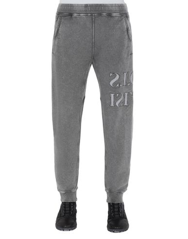 STONE ISLAND 66454 FLECK TREATMENT  Fleece Pants Man Blue Grey USD 242