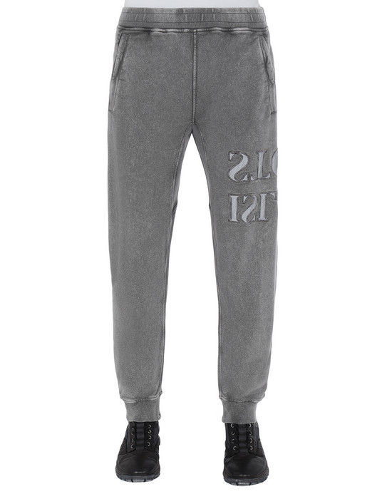 STONE ISLAND 66454 FLECK TREATMENT  Fleece Trousers Man Blue Grey