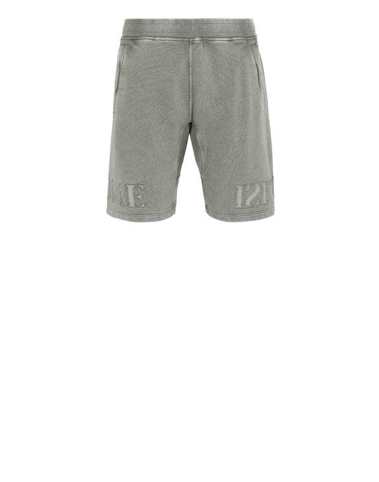 STONE ISLAND 66354 FLECK TREATMENT FLEECE BERMUDA SHORTS Man Olive Green