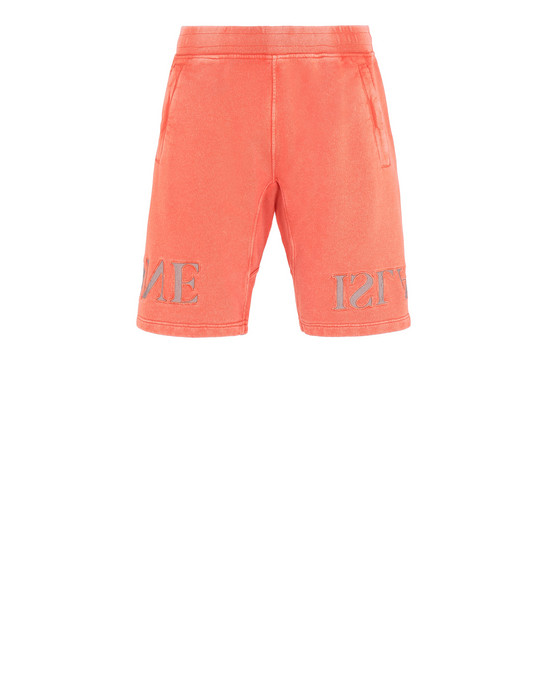 STONE ISLAND 66354 FLECK TREATMENT FLEECE BERMUDA SHORTS Man Lobster Red
