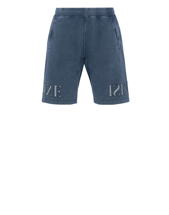 STONE ISLAND 66354 FLECK TREATMENT FLEECE BERMUDA SHORTS Man Marine Blue