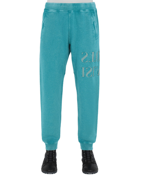 STONE ISLAND 66454 FLECK TREATMENT  Fleece Trousers Man Turquoise