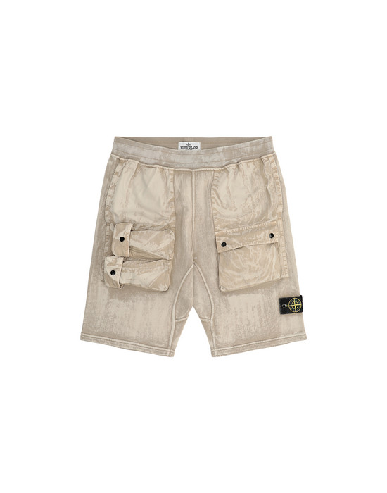 FLEECE BERMUDA SHORTS Man 62345 BRUSH TREATMENT Front STONE ISLAND TEEN
