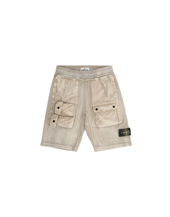 FLEECE BERMUDA SHORTS Man 62345 BRUSH TREATMENT Front STONE ISLAND JUNIOR