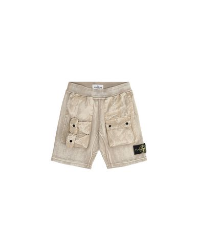 STONE ISLAND KIDS 62345 BRUSH TREATMENT FLEECE BERMUDA SHORTS Man Sand USD 231