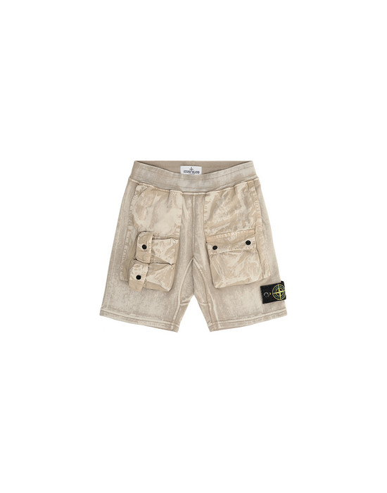 FLEECE BERMUDA SHORTS Man 62345 BRUSH TREATMENT Front STONE ISLAND KIDS