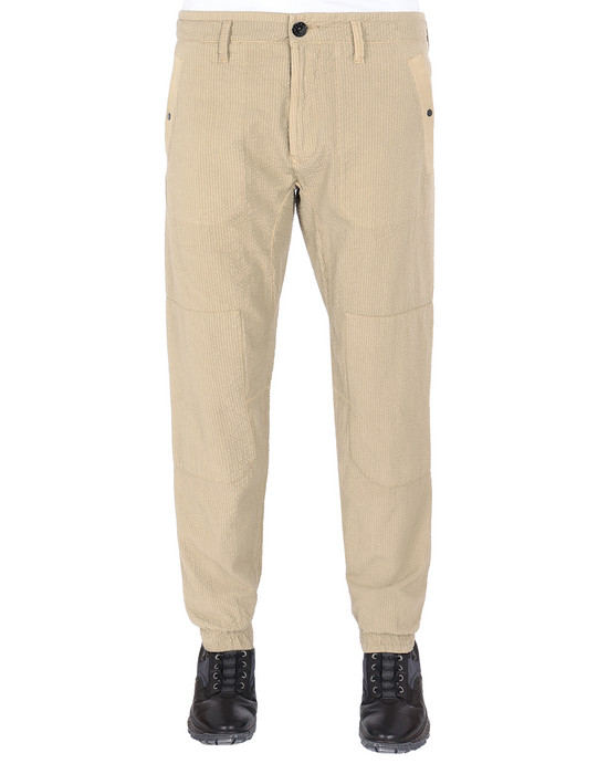 STONE ISLAND 32237 SEERSUCKER CO-TC Pants Man Dark Beige