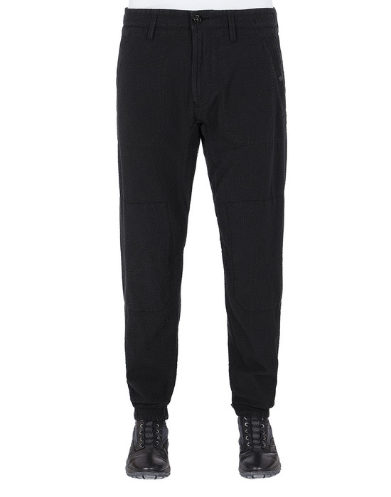 STONE ISLAND 32237 SEERSUCKER CO-TC Pants Man Black