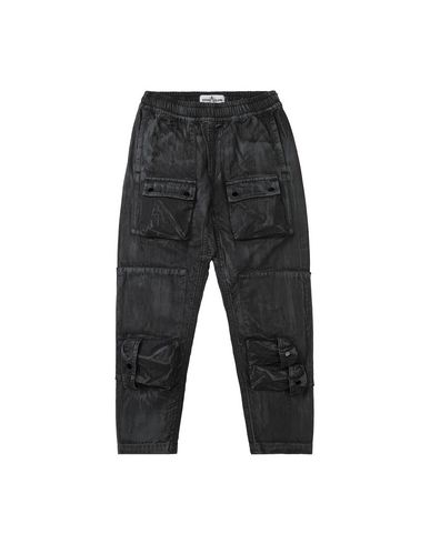 STONE ISLAND KIDS 30536 BRUSH TREATMENT Trousers Man Black EUR 244