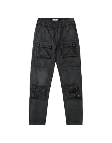 STONE ISLAND JUNIOR 30536 BRUSH TREATMENT Trousers Man Black EUR 177