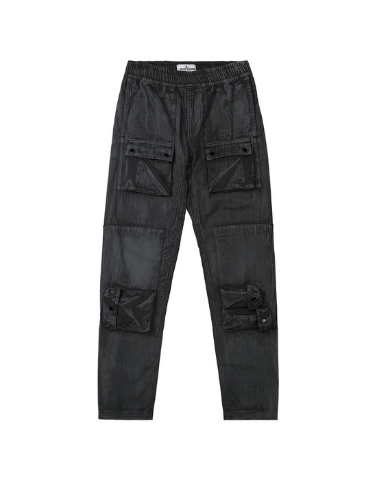 STONE ISLAND JUNIOR 30536 BRUSH TREATMENT Trousers Man Black