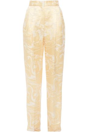ACNE STUDIOS Printed linen and silk-blend straight-leg pants