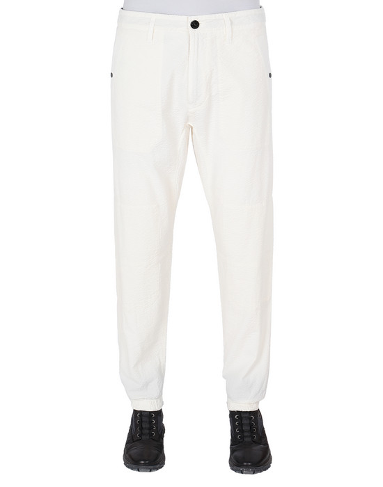 STONE ISLAND 32237 SEERSUCKER CO-TC Pants Man Ivory