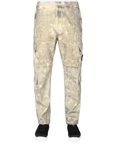 STONE ISLAND 317E2 DUST COLOUR WITH GHILLIE LASER CAMO Pantalon Homme Crème EUR 469