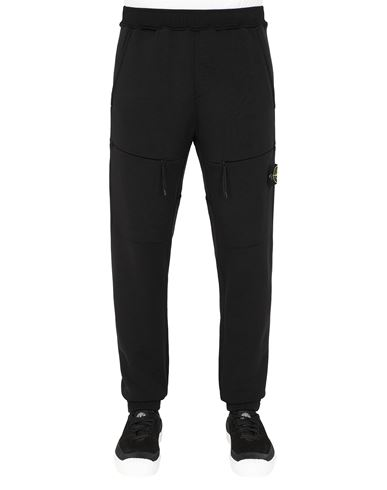 STONE ISLAND 63847 Fleece Trousers Man Black EUR 319