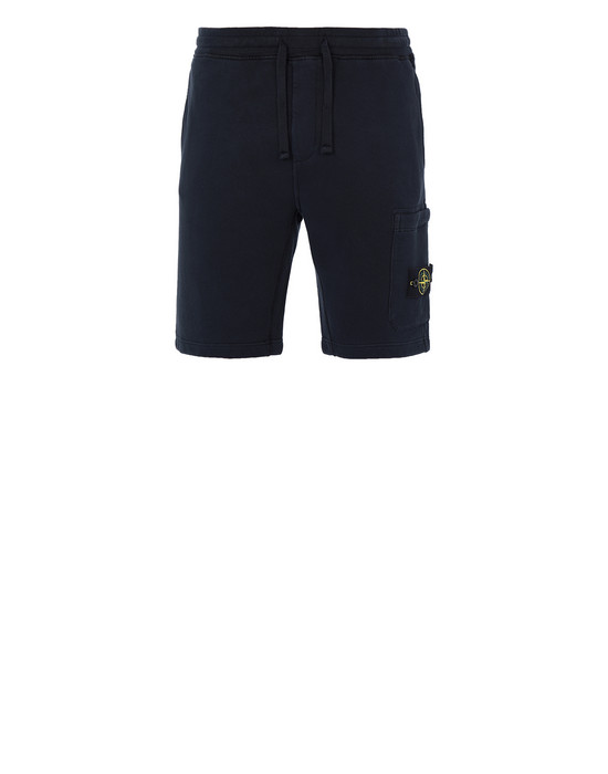 STONE ISLAND 64620 FLEECE BERMUDA SHORTS Man Blue