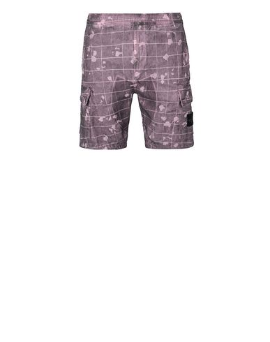 STONE ISLAND L01E2 DUST COLOUR WITH GHILLIE LASER CAMO Bermuda shorts Man Magenta EUR 235