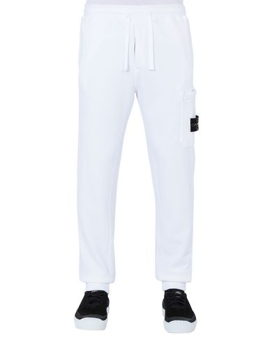 STONE ISLAND 64520 Fleece Pants Man White EUR 176
