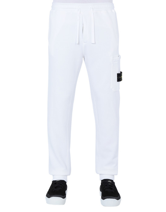 STONE ISLAND 64520 Fleece Trousers Man White