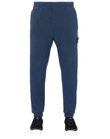 STONE ISLAND 62390 DUST COLOUR TREATMENT Fleece Trousers Man Dark Periwinkle Melange EUR 202