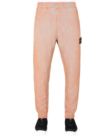 STONE ISLAND 62390 DUST COLOUR TREATMENT Fleece Trousers Man ORANGE MELANGE EUR 195