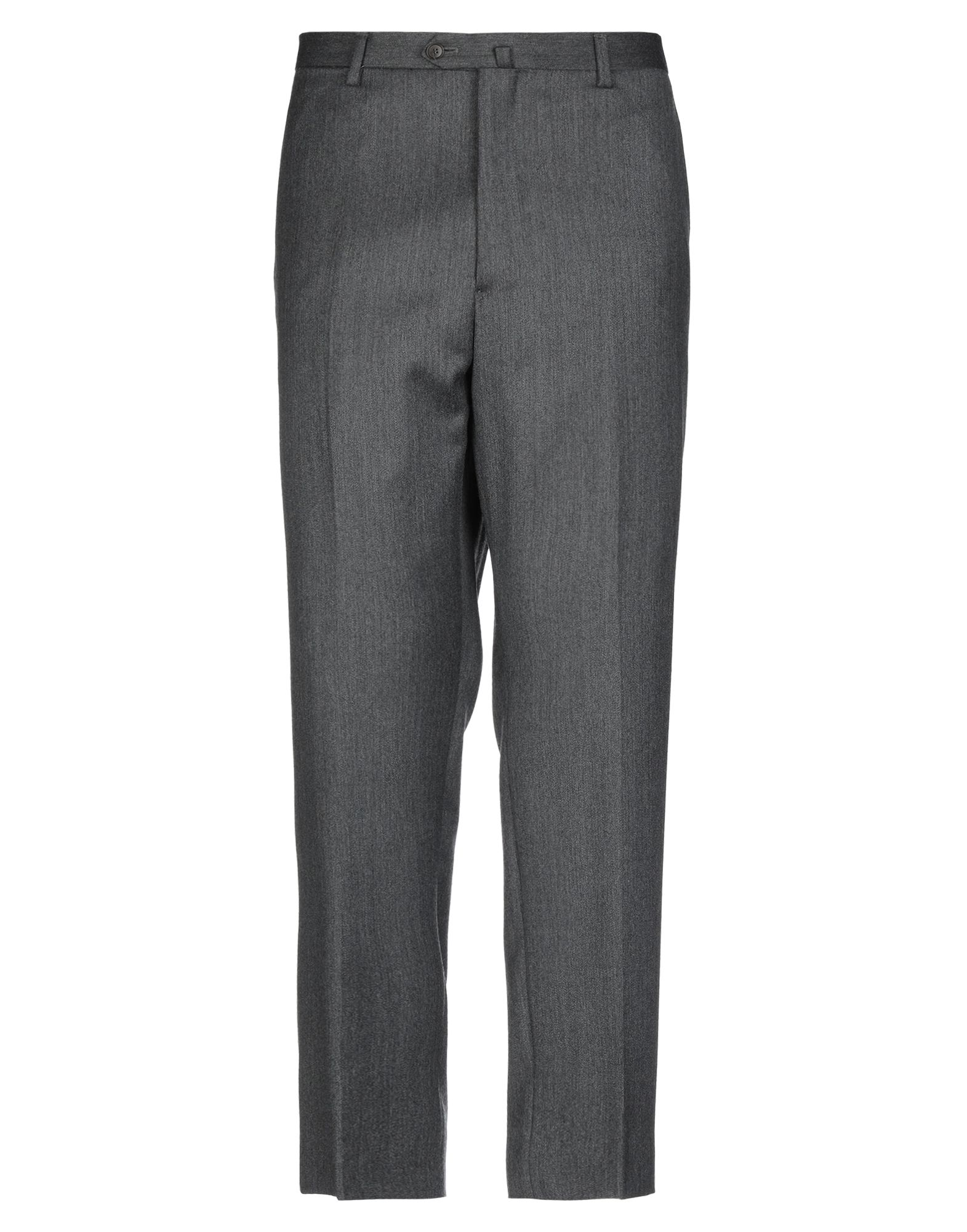 DALTON & FORSYTHE Casual pants. flannel, solid color, no appliqués, mid rise, regular fit, tapered leg, button, zip, multipockets. 100% Virgin Wool