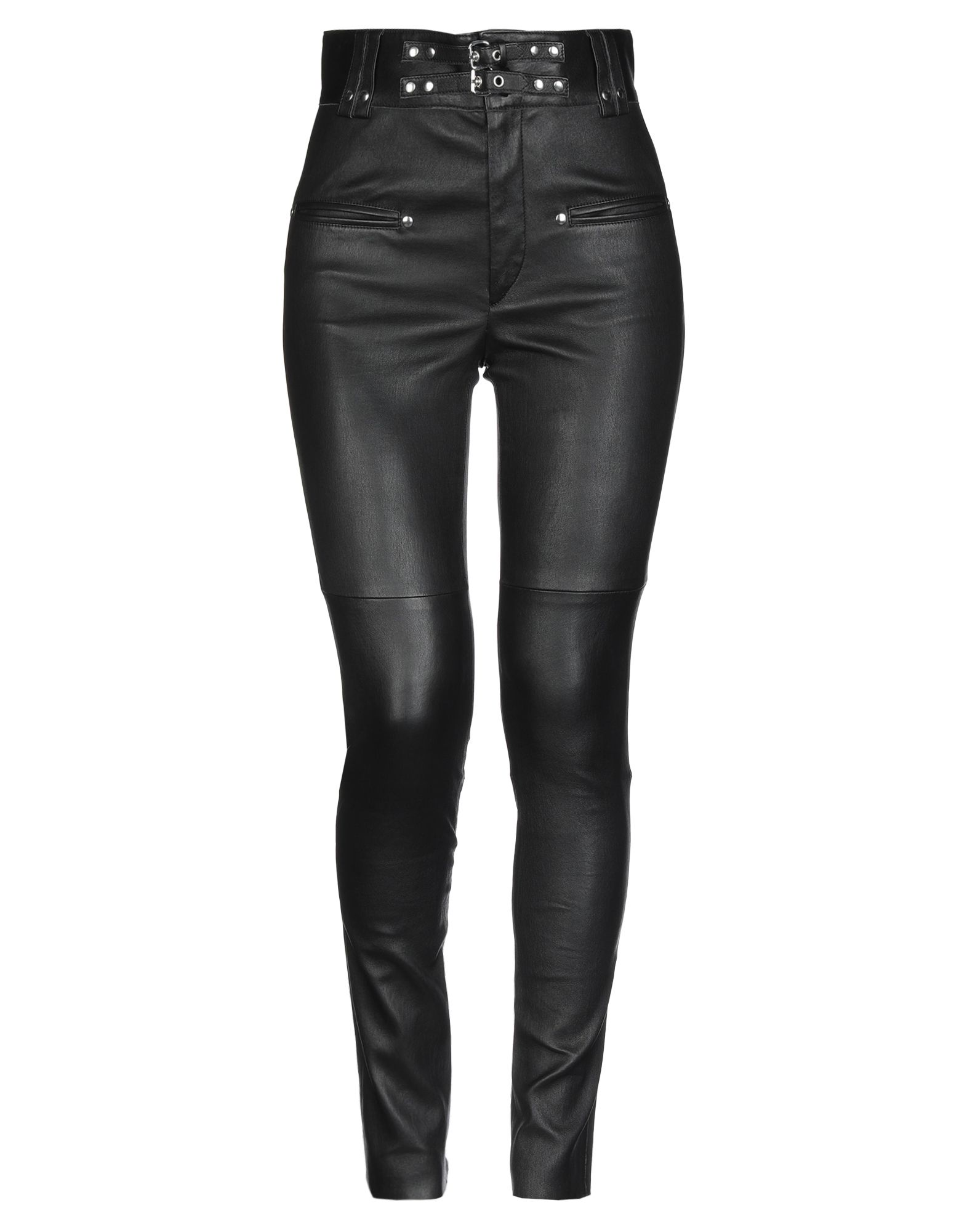 ISABEL MARANT Casual pants. leather, basic solid color, strap detailing, high waisted, slim fit, straight leg, snap-buttons, zip, multipockets, contains non-textile parts of animal origin, raw-cut hem. 100% Lambskin